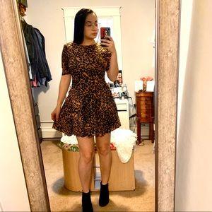 H&M Leopard Print Mini Skater Dress